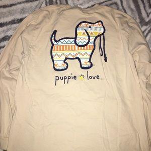 Puppie Love Tshirt - long sleeve - L